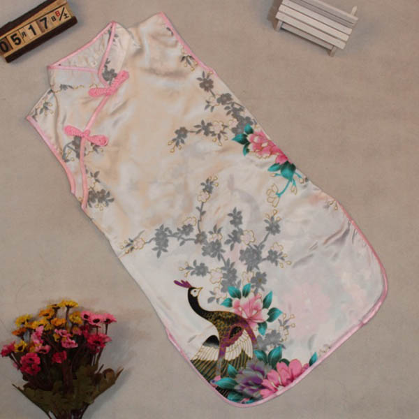 Girl Kid Peacock Sleeveless Slim Traditional Dress Cheongsam Child Chinese Qipao(China (Mainland))