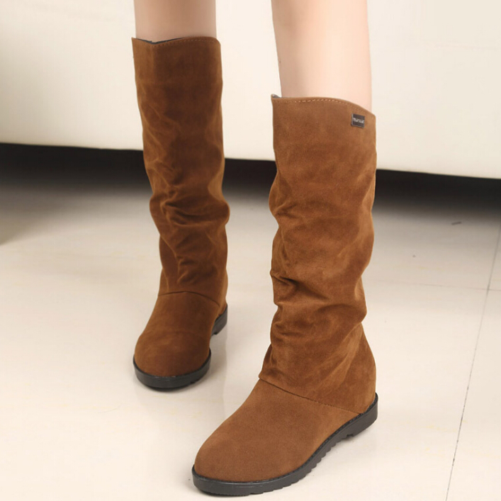 big size 2015 Autumn Winter stylish flat flock shoes fashion knee high boots women casual princess sweet snow - All-New Market store