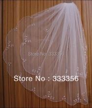 2 T Weiß/Elfenbein Elbow Wulstrand Perle Pailletten Blumen Abbildung Braut Hochzeit Schleier(China (Mainland))
