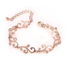 Meaeguet Elegant flower pattern women bracelet&bangles fashion rose Gold Color 316L stainless steel girl bracelets bangles(China (Mainland))