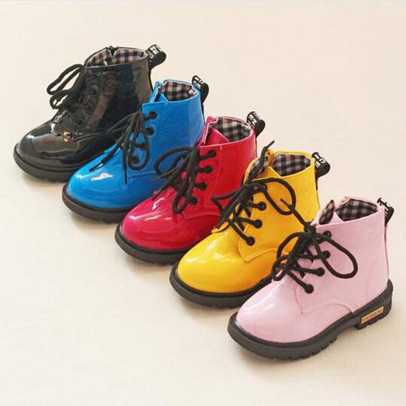 2015 New Winter Children Snow Boots PU Leather Waterproof Rubber Boots Kids Botas Infantil Boys Girls Martin Boots<br><br>Aliexpress
