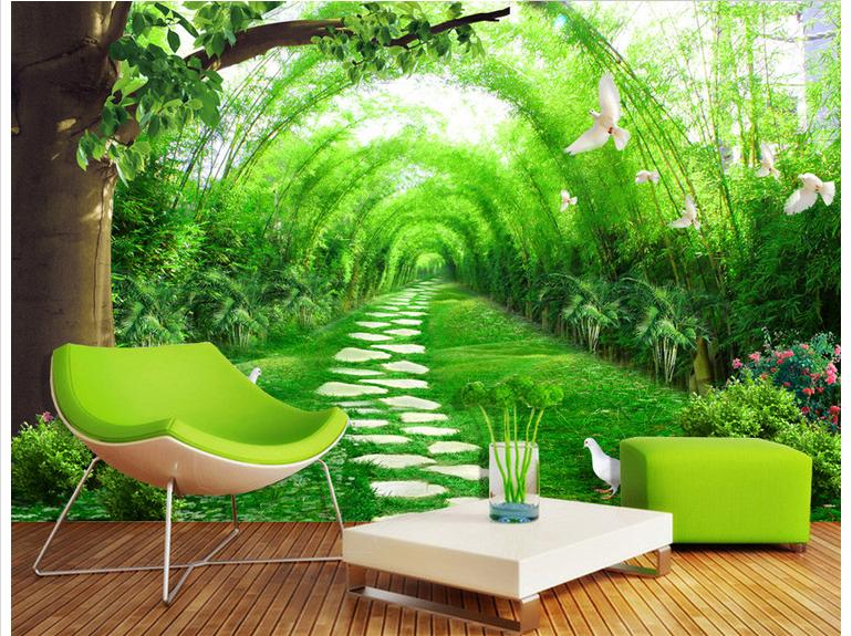 Popular wall mural forest buy cheap wall mural forest lots for Cheap green wallpaper