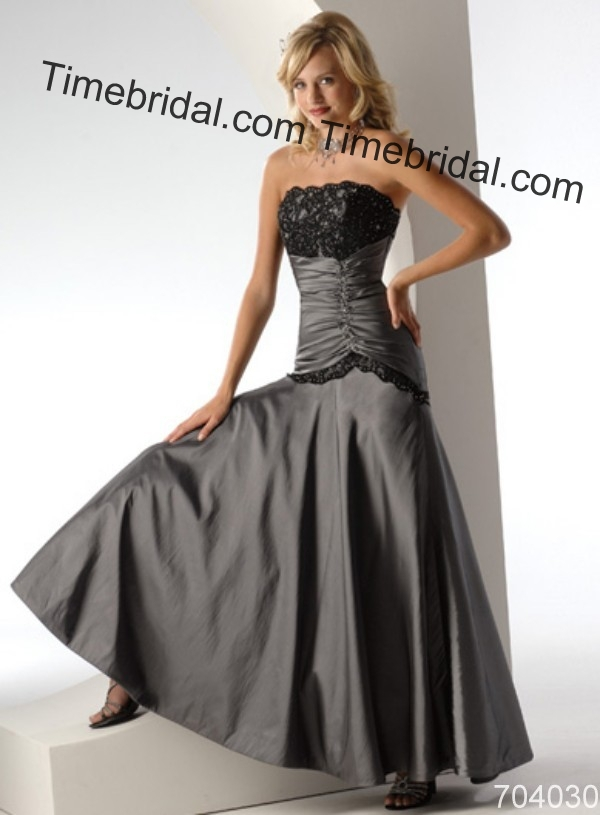 Sliver grey black lace floor lenght sleeveless sexy for Black and grey wedding dress