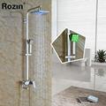 Modern Wall Mounted 8 Chrome Shower Faucet Column Set Single Handle LED Light Rain Shower Head