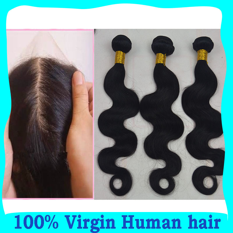 7A Virgin Peruvian human hair silk base closure with bundles body wave unprocessed hair extension 3