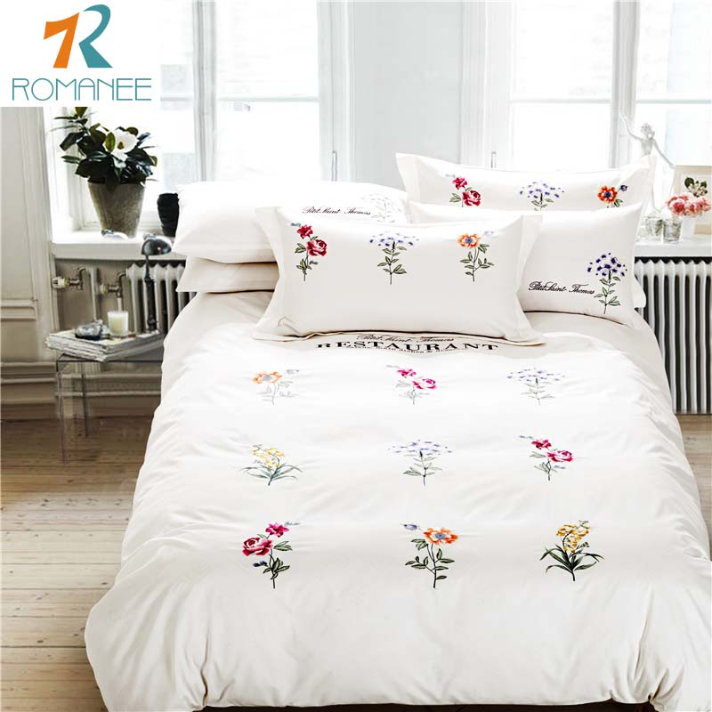 Luxury brand bed sheets 40S 100% Cotton Bedding set High Quality Embroidery Wedding Bed sets Tencel Satin King/Queen Hot(China (Mainland))