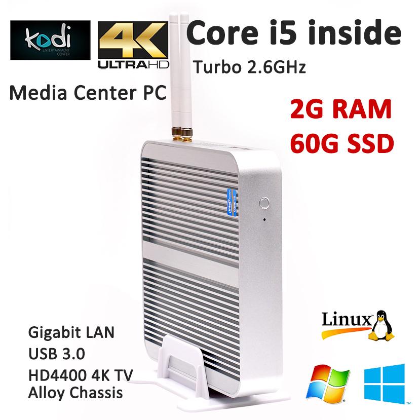 Mini pc windows 8.1 intel core i5 haswell 4200U computador 2G RAM 60G SSD Brushed Aluminium Alloy case HDMI+VGA support 4K HD(China (Mainland))