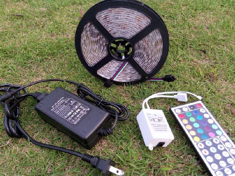 5050 SMD Outdoor Waterproof LED Strip Light 300 LEDS 12V RGB Strips 5m Tape Multicolor 44Keys Remote Controller 6A Power Adapter - Soar Bright store