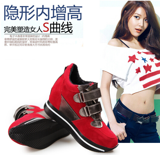 2014 autumn winter women's shoe tide Velcro stealth within high platform shoes color matching movement leisure sport - Shanghai188 store