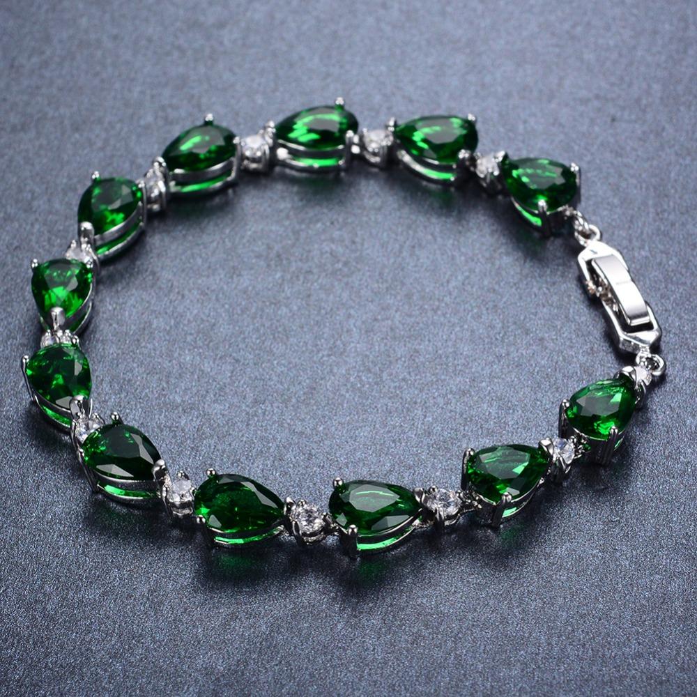 women emerald water drop bracelet fashion charm jewelry