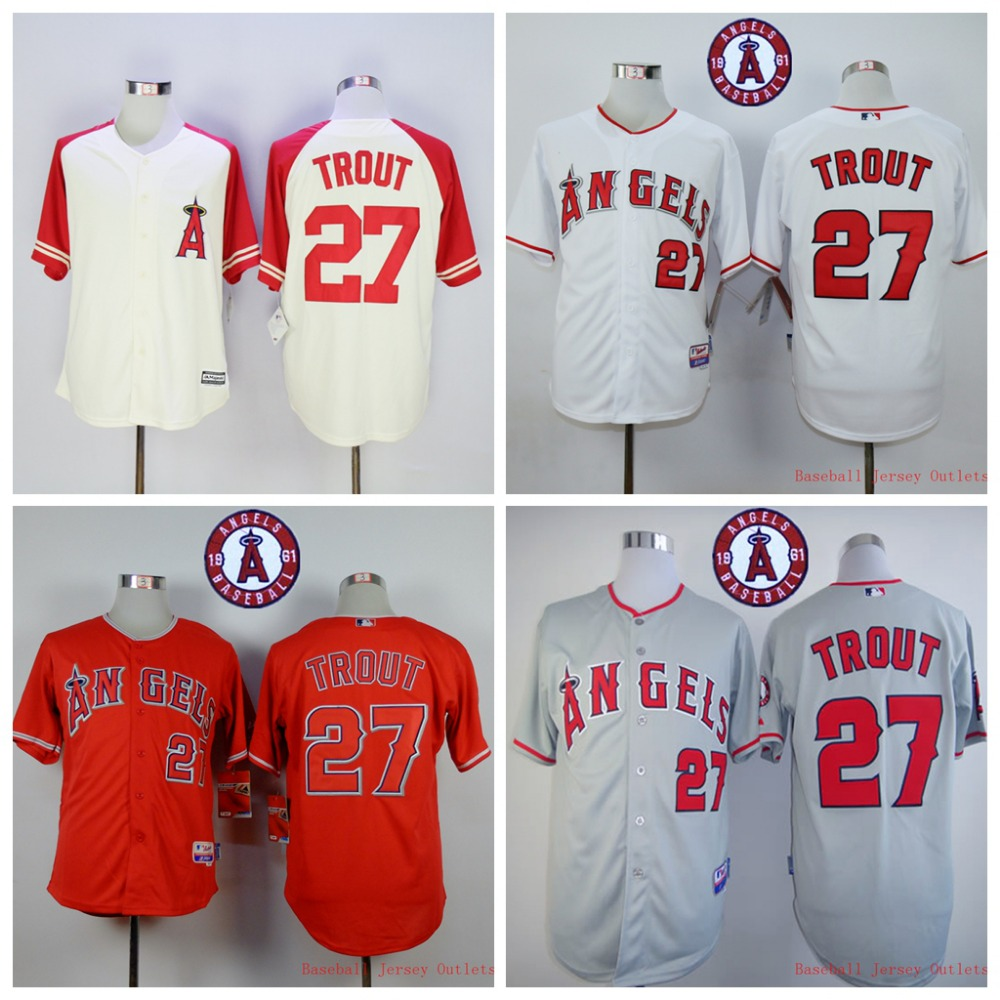 2015 Los Angeles Angels #27 Mike Trout Jerseys Throwback Jersey Stitched White Grey Red Authentic Top Quality Free Shipping<br><br>Aliexpress