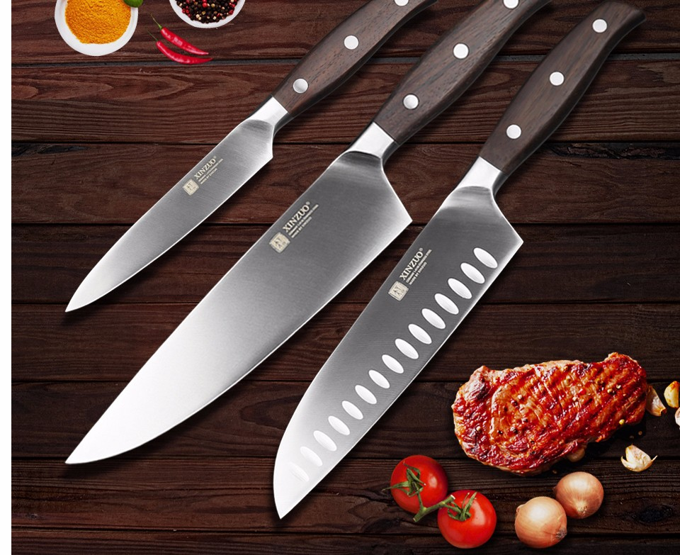 Buy XINZUO kitchen tools 3 PCs kitchen knife set utility Chef  knife Germany stainless steel Kitchen Knife sets free shipping cheap