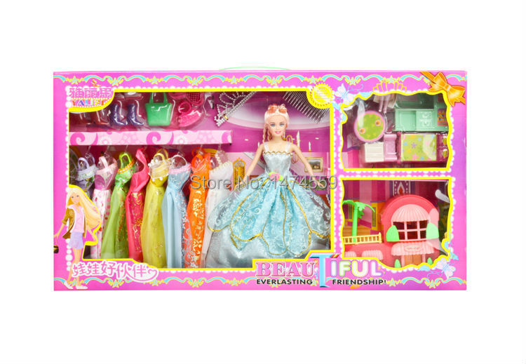 658 Barbiee New Arrivals 2014 High Quality Barbiee princess with a lot of fanshion beautiful clothes shoes hangbag accessories(China (Mainland))