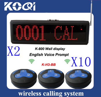 Waiter Calling System of 10pcs of H3-BB table bell and 2 pcs of K-800 receiver english voice prompt