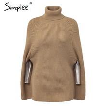 Женский черный вязаный свитер Simplee, повседневный плащ-свитер на осень и зиму, уличный пуловер с длинным воротом(China)