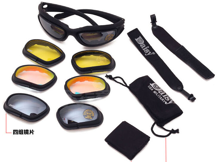 C5 Desert Storm Sun Protection Eye Sunglasses riding cycling Motorcycle Outdoor Sports Glasses Safety Goggle 4 Color lens - Tactical's store