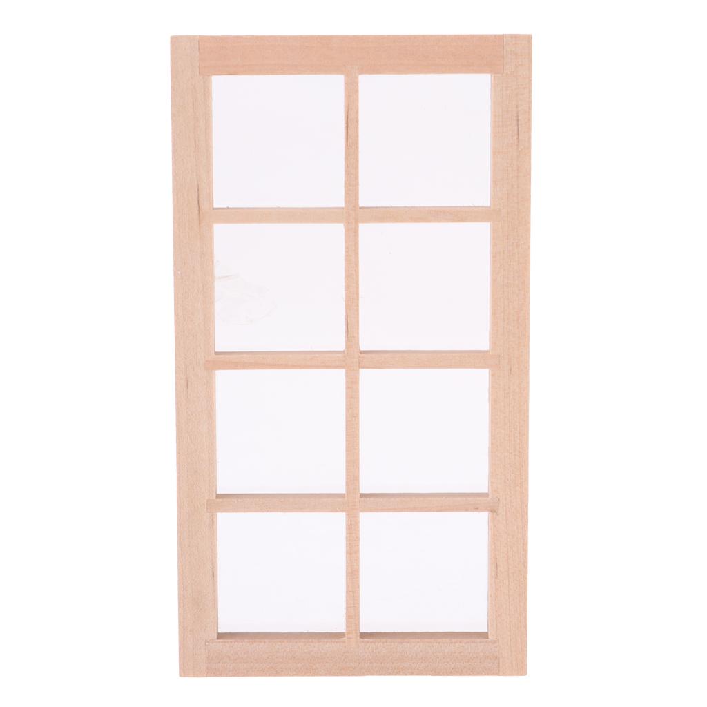 1//12 Dollhouse Miniature Unpainted Wooden 8-Pane Door Window Frame Furniture