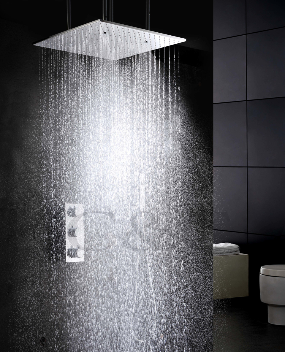 Atomizing Rainfall Water Function Bathroom Products 20 Inch Bath Shower Head Thermostat Faucet Set - C&C Sanitary Ware Co., Ltd. store