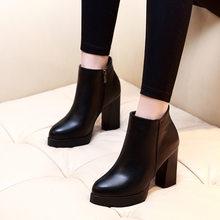 Kadın yarım çizmeler dropshipping Sonbahar Martin Kadın Yüksek Topuklu Çizmeler Platformu Seksi Bayanlar Siyah Pompaları Bot Ayakkabı(China)