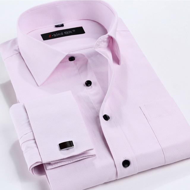 Мужчины рубашку с длинным рукавом свободного покроя мода марка сплошной цвет тонкий ...