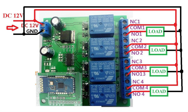 12V 4Ch Bluetooth Relay Android Mobile Remote control Switch for ...