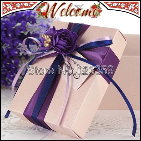 3Purple European Style Candy Box Wedding box Flower decoration party favors gifts 7*8.5*4cm - John Qin's store