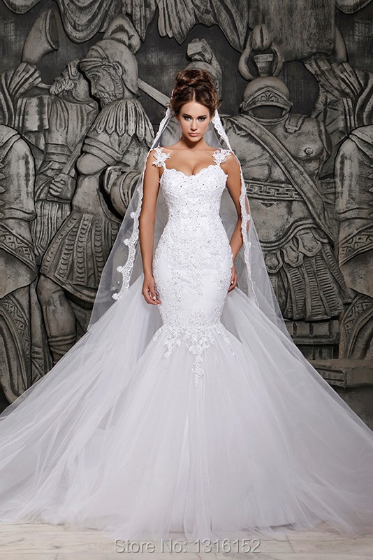 Free shipping spaghetti straps princess wedding dress, white zipper design applique wedding dress custom size delivery fast(China (Mainland))