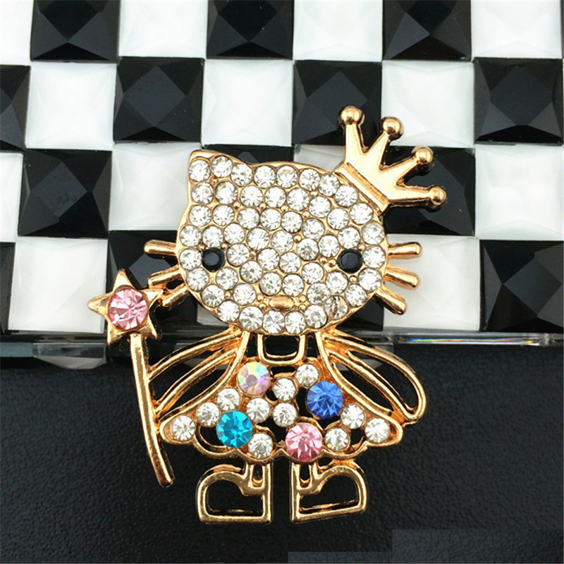 2 Pieces Alloy Rhinestone Hello kitty DIY Phone Case Decoration Accessories Cell Phone Bling Deco Kit For iPhone 5S 6 6S 7 Plus(China (Mainland))