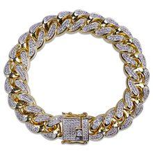 "TOPGRILLZ היפ הופ זכר תכשיטי צמיד נחושת אייס מתוך זהב צבע מצופה CZ אבן 14mm שרשרת צמידי עם 7 ""8"" שני גדלים(China)"