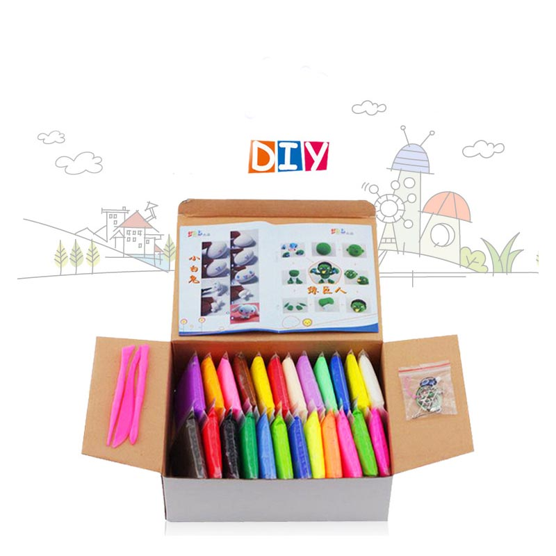 24pcs 24 coulors DIY Air Dry Clay Play Doh Soft Modeling Clay Fimo Polymer Clay Jumping Foam Plasticine Block Toy Playdough
