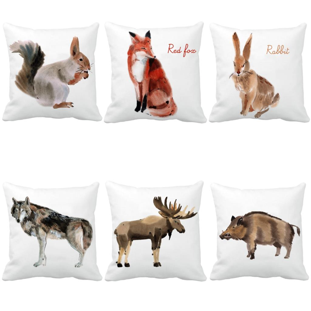 Design Watercolor Winter Animal Cushions For Sofa Chair