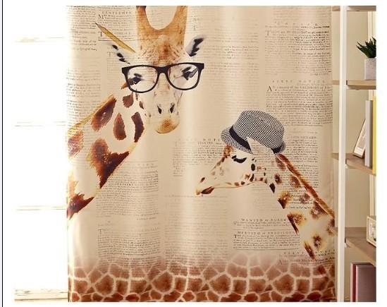 mhsh01, северные ikea мультфильм 1.3 * 2,35 метра готовой шторы жирафа зебра печати плотные ткани шторы