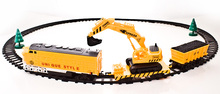 Best Christmas holiday gift Coal carriage Excavating machinery Transport  electr running train suit with rail way toy 1/87 model(China (Mainland))