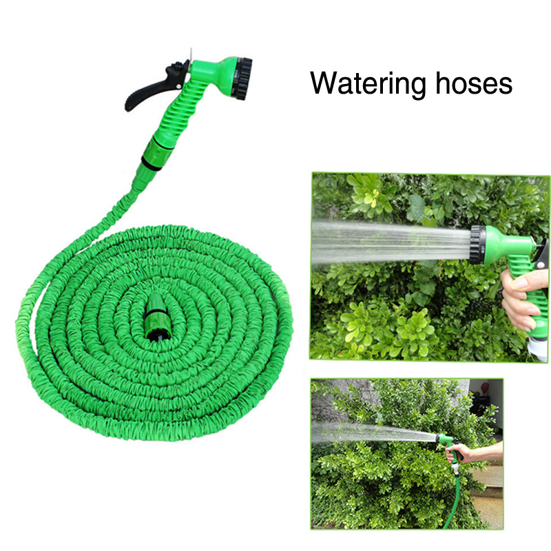 100FT Expandable Magic Flexible Hose Water For Garden Car Pipe Plastic To Watering With Spray Gun Green Hose HG03