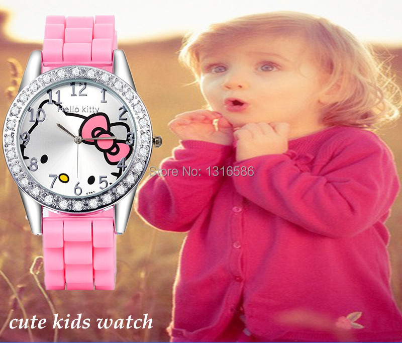 New Fashion Kids Cartoon Watches Hello Kitty Jelly Reloj For Girls Children Relogios Silicone Lovely Cute Watch Women clock(China (Mainland))