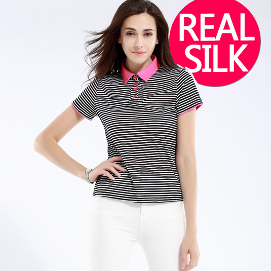 100% pure REAL SILK women striped England style british high quality basic shirt ladies body short sleeve POLO shirt 2015 newОдежда и ак�е��уары<br><br><br>Aliexpress