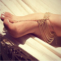 New Beach Fashion Multi Tassel Toe Bracelet Chain Link Foot Jewelry Anklet