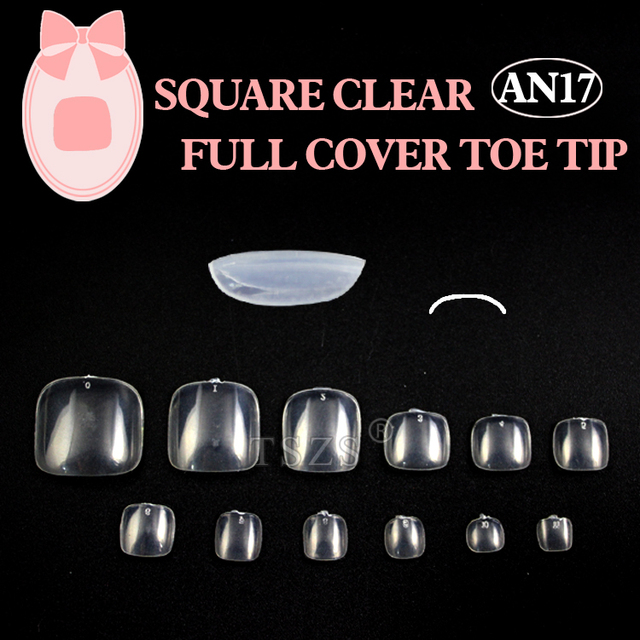 1bags*600PCS Clear Toe Round Nail Tips Full Cover Acrylic UV Gel False Toe Tips