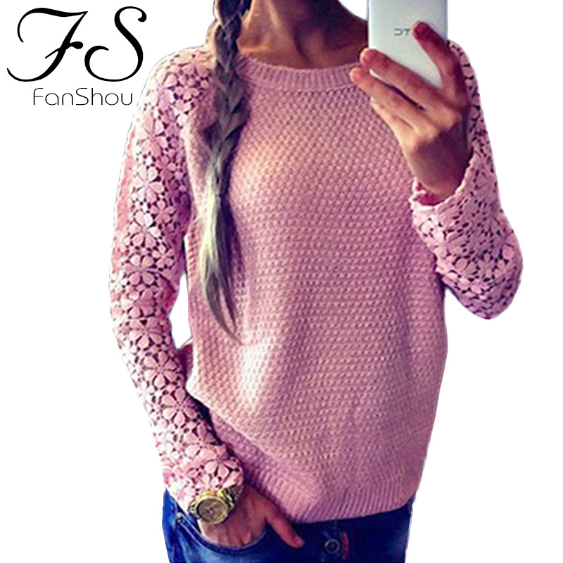 FanShou 2014 Women Sweater Long Sleeve Hollow Casual Sweaters Patchwork Lace Pullover Knitted - Instyle Boutique store