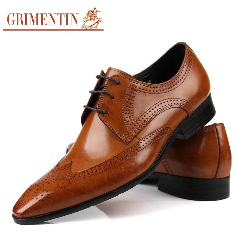 Grimentin Brand Classic Vintage Fashion Men Dress Shoes Genuine Leather Black Business Male