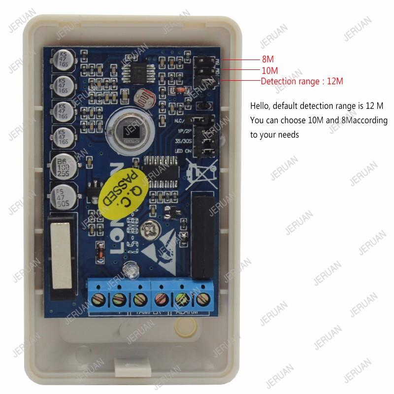 JERUAN  mini Dual-infrared detector wired PIR sensor anti burglar thief indoor passive infrared motion detector NO/NC optional