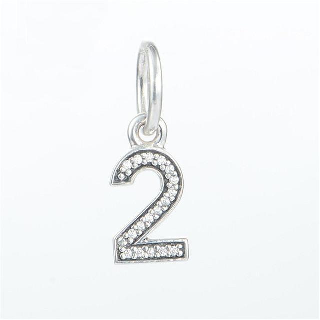 Подходит пандоры прелести браслет аутентичные 925 серебряные ювелирные изделия бусины номер 2 вымощают ясно CZ шарм DIY ювелирных оптовая продажа