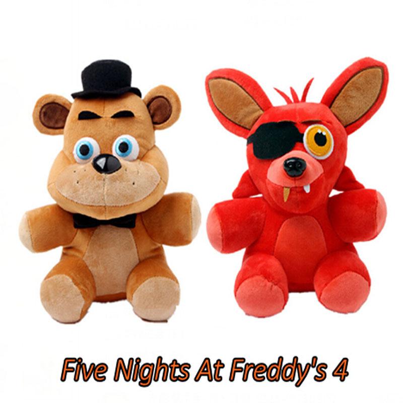 New 2pcs/lot Hot Five Nights At Freddy's 4 FNAF Freddy Fazbear Bear Foxy Dolls Plush Toys Bear Stuffed Plush Animals Gifts 25CM(China (Mainland))