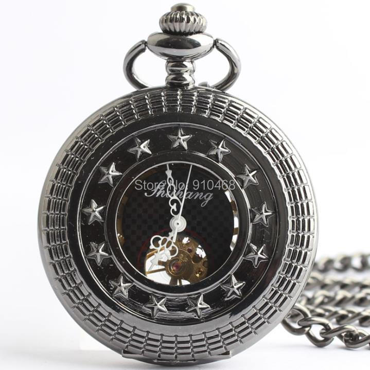 cool black fashion genuine carved hollow mechanical