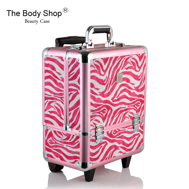 Free Shipping Retail The Body Shop Classic Aluminum Makeup Case Aluminum Cosmetic Case Makeup Rolling Case Rose Zebra Pattern(China (Mainland))