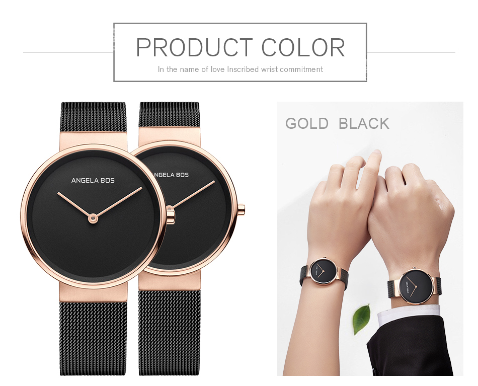 ANGELA BOS Thin Simple Nordic Design Sapphire Crystal Glass Women Watches Weave Stainless Steel Watches Strap Woman Luxury Brand