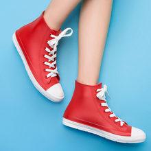 Nữ, Mẫu Thời Trang Kẹo Màu Chống Nước Mắt Cá Chân Giày Đi Mưa Hồng Nữ Giày botas mujer size 35-41 g01w(China)