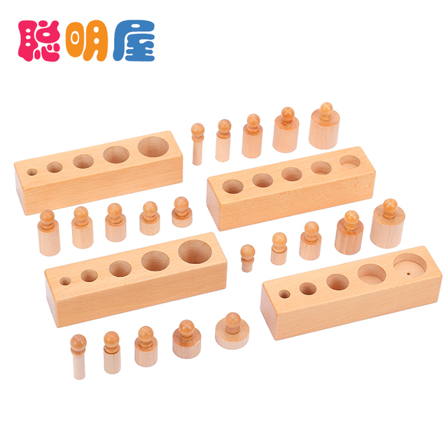 Free Shipping Hot sale wooden toy Montessori education cylinder socket baby teaching toy math development senses teaching aids