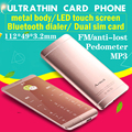 Ultrathin credit card mobile phone A7 OLED touch display metal body MP3 dual sim FM bluetooth