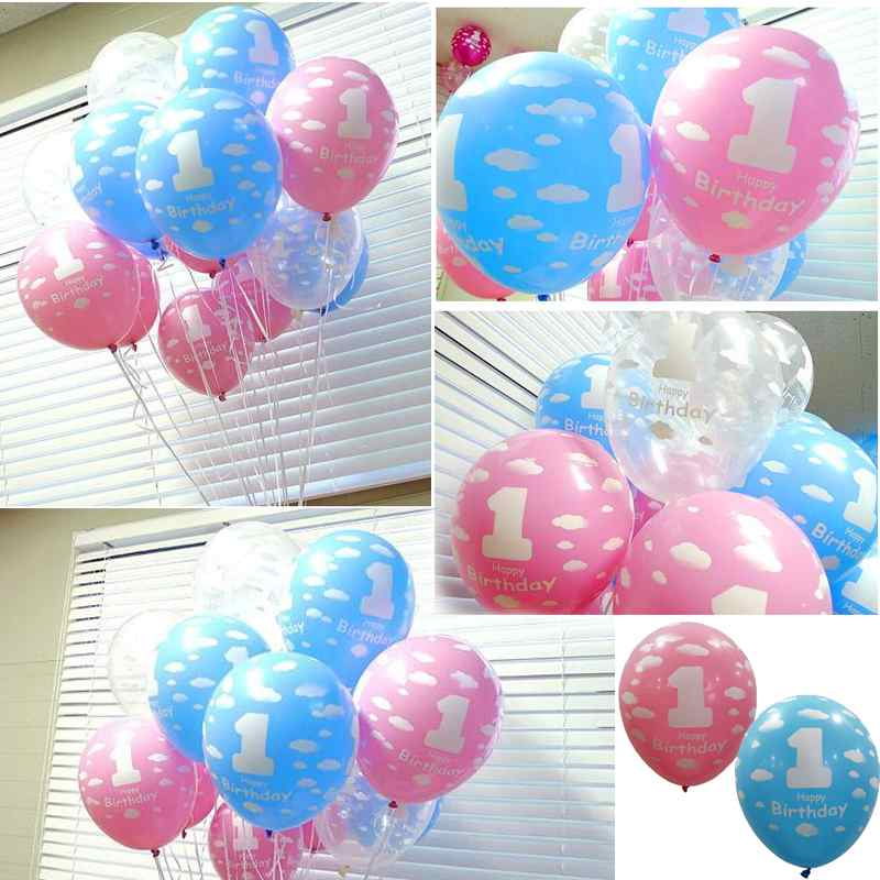 1PC Baby Girl Boy 1st First Birthday Cloud Latex Balloon Printed Birthday Party Design Decoration Party Favor Supplies(China (Mainland))